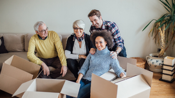 Get Elderly Parents to Move and arrange boxes