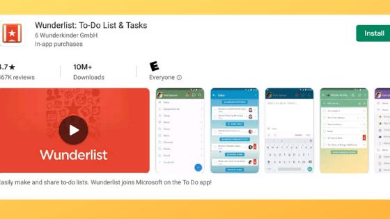 Wunderlist Moving Apps